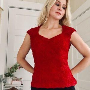 """DressBarn"" Red Short Sleeve Blouse Dress Top"